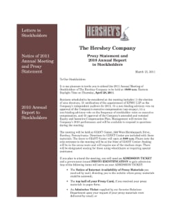 2011 PROXY STATEMENT AND 2010 ANNUAL REPORT; FORM 10-K