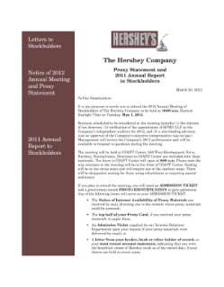 2012 PROXY STATEMENT AND 2011 ANNUAL REPORT; FORM 10-K