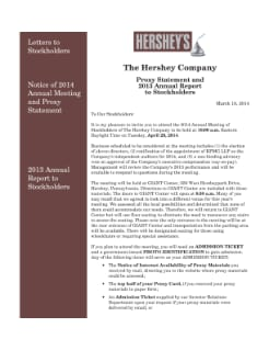 2014 PROXY STATEMENT AND 2013 ANNUAL REPORT; FORM 10-K